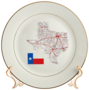 cp_39026_1 Florene Décor II - Framed State Of Texas With State Flag - Plates - 20cm Porcelain Plate
