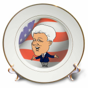 cp_60090_1 Edmond Hogge Jr Presidents - President Bill Clinton With American Flag - Plates - 20cm Porcelain Plate