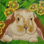Continental Art Centre BD-2103 20cm by 20cm Floppy Ear Rabbit Ceramic Art Tile