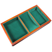 Walter 28cm Wooden Valet Tray - 3 Compartment Leatherette Organiser Box for Wallets, Coins, Keys, and Jewellery