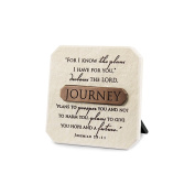 LCP Journey White Resin Plaque With Bronze Title Bar Scripture Verse Jeremiah 29:11