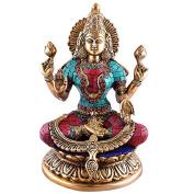 23cm Gorgeous Goddess Lakshmi- Hindu Deity of Wealth Brass Statue- Good Luck Prosperity Diwali Gift