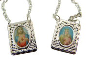 Our Lady of Mt Carmel with Sacred Heart Jesus Christ Medal 2 Panel Scapular