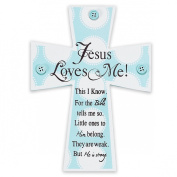 Dicksons Jesus Loves Me Wall Cross, Blue Buttons