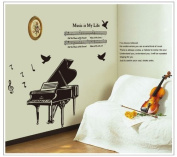 Good Life Music is My Life Quote Piano Musical Note Music Score Removable Wall Decal Decor Sticker