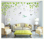 YUPENGDA(TM) Sweet Memory Word Grey Trunk Green Leafs of Nine Picture Frame Two Birds Living Room Wall Sticker Decor