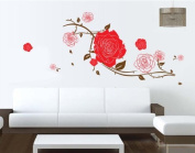 New Design Big Roses with Some Leaves Removable Wall Decal Home Decor Sticker Flower Mural