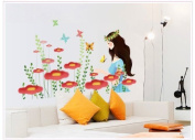 New Design Beautiful Woman Wall Decal Red Flowers Wall Mural Decor Decals