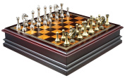 Grace Chess Inlaid Wood Board Game with Metal Pieces - 30cm Set