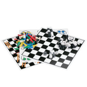 Kathleen Blue 7 Combo Classic Board Game Set with Magnetic Pieces - Tic-tac-toe, Checkers, Backgammon, Chess, Snakes and Ladders, Chinese Checkers, Ludo - 19cm