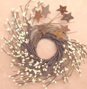 CWI Gifts Pip and Twig with Rusty Star Wreath, 18cm , Ivory
