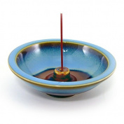 Shoyeido's Denim Round Ceramic Incense Holder