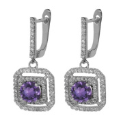 3.01 Ct Round Natural Purple Amethyst 925 Sterling Silver Dangling Earrings