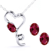 2.56 Ct Oval Red Created Ruby 925 Sterling Silver Pendant Earrings Set