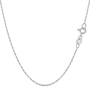10K White Gold Carded Rope Chain - Width 0.5mm