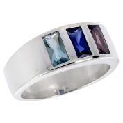 Sterling Silver Aquamarine Sapphire Amethyst CZ Band Ring Emerald cut, sizes 6 - 10
