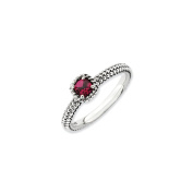 Antiqued Silver Stackable Created Ruby Ring