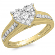 0.70 Carat (ctw) 14K Gold Princess & Round Diamond Bridal Heart Shaped Promise Engagement Ring 3/4 CT