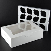 Pack of 10 Window Cupcake Box holds 12 WHITE 14x10x4 Bakery or Cake Box with Inserts