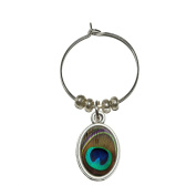 Peacock Feather Wine Glass Oval Charm Drink Marker