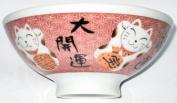 Rice Bowl Maneki Neko Lucky Cat Pink - Microwave Sae