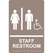 ComplianceSigns Acrylic ADA Restroom General Sign, 23cm x 15cm . with English + Braille, Taupe