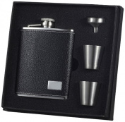 """Visol """"Eclipse S"""" Leather Deluxe Flask Gift Set, 180ml, Black"""