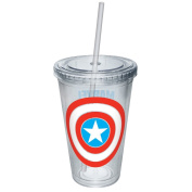 ICUP Marvel Captain America Shield Logo Plastic Cup with Straw, 470ml, Clear