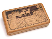 Double Deck Card Box With Dice - Horses
