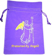 Protected by Angels Luxury Velvet Drawstring Tarot or Oracle Card Bag