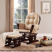 Baby Relax Harbour Glider Rocker and Ottoman Cherry with Beige Cushions