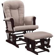 Baby Relax Glider Rocker and Ottoman Espresso with Grey Cushions