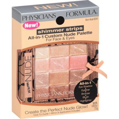 Physicians Formula Shimmer Strips All-in-One Palette for Face & Eyes, Warm Nude, 10ml
