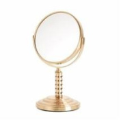 Danielle Dual Sided Swivel Vanity Make-Up Mirror with 5X Magnification, Studded Gold