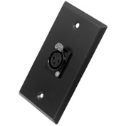 Seismic Audio - Black Stainless Steel Wall Plate - One XLR Female Connector Black - SA-PLATE5