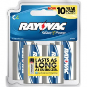 Rayovac Alkaline Batteries, C, Recloseable Card, 4 Ct