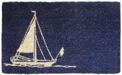 Sailboat 46cm . x 80cm . Hand Woven Coconut Fibre Door Mat