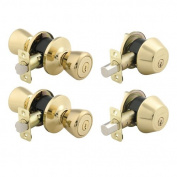 Brinks 2 Keyed Entry Door Knob Bell L And 2 Deadbolt Combo Pack Polished Brass