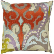 46cm Fire Storm Red and Grey Contemporary Patterned Decorative Throw Pillow