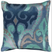 60cm Fire Storm Navy Blue and Sky Blue Contemporary Patterned Decorative Throw Pillow