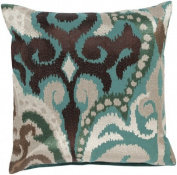60cm Fire Storm Chocolate Brown and Blue Contemporary Patterned Decorative Throw Pillow