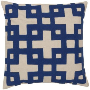 60cm Ionic Flow Beige and Cobalt Blue Contemporary Patterned Decorative Throw Pillow