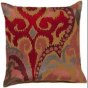 60cm Fire Storm Lavish Red and Tan Contemporary Patterned Decorative Throw Pillow