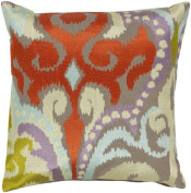 60cm Fire Storm Red and Grey Contemporary Patterned Decorative Throw Pillow - Down Filler