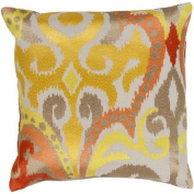 60cm Fire Storm Orange, Red and Gold Contemporary Patterned Decorative Throw Pillow - Down Filler