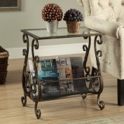Monarch Brushed Gold Metal Magazine Table with Tempered Glass