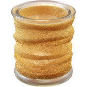LumaBase Luminarias Glass Candle Holders with Metallic Wrap, 4-Count