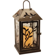 LumaBase Luminarias Metal Lantern with LED Candle, Black Vine
