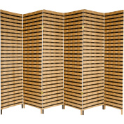 Oriental Furniture 1.8m Tall Two Tone Natural Fibre Room Divider - 6 Panel