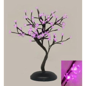 46cm Asian Fusion Battery Operated LED Lighted Bonsai Floral Blossom Tree - Pink